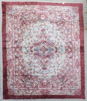 Antique Knotted Wool Oriental Floral Design Carpet