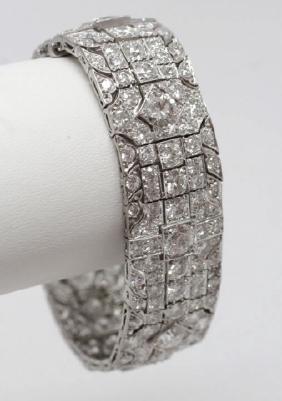 Estate Platinum Art Deco 30 Carat Diamond Bracelet