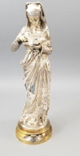 Antique Carrier Belleuse Silver Bronze Statue