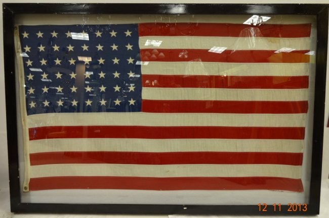 Framed Very Large Vintage 48 Star American Flag Lot 44