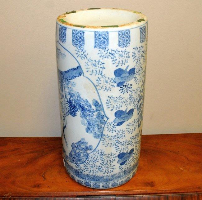 Umbrella Stand Blue And White: Chinese Blue & White Glazed Umbrella Stand : Lot 389