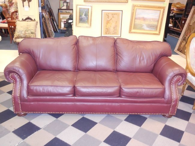 Brown Leather Sofa W Nailhead Trim Lot 349