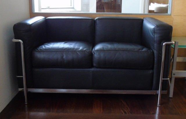 signed le corbusier lc2 petit modele sofa by cassina lot 509. Black Bedroom Furniture Sets. Home Design Ideas