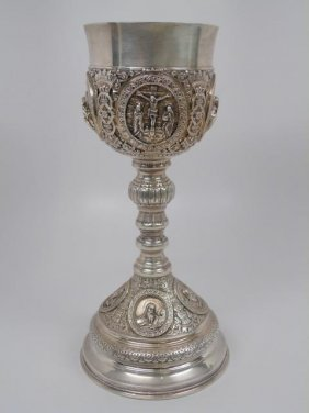 Large Antique Russian Sterling Silver Chalice Lot 121