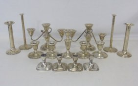 Large Collection Of Sterling Silver Candlesticks