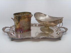 Lot Of 3 Silver Plate Dining Table Items Tray Urn