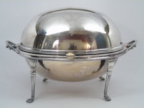 Antique Silver Serving Chafing Dish