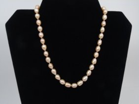 Estate Baroque Pearl & Gold Clasp Necklace Strand