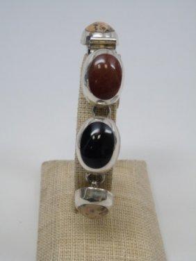 Vintage Mexico Sterling Cabochon Stone Bracelet