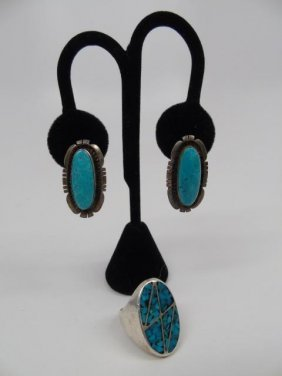 Sterling Silver & Turquoise Ring & Earrings