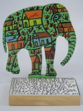 Howard Finster Cut-out Elephant Signed & Dated