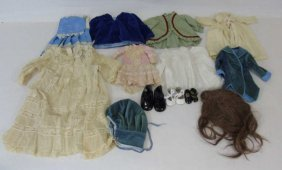 Group Antique & Vintage Doll Clothes & Shoes