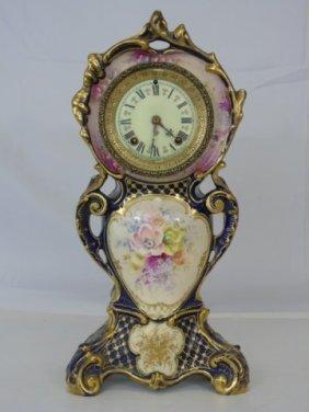 Antique Ansonia Hand Painted Porcelain Clock