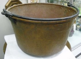 Large Antique Hand Hammered Cauldron