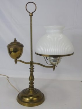 Antique Colonial / Early American Milk Glass Lamp