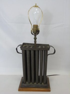 Antique American 19th C Candle Mold Mount Lamp