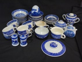 Large Lot (41) Vintage Blue Willow Ware Bowls Cups