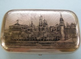 Antique Russian Imperial Silver Niello Box