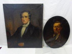 Two Antique American School Portraits Of Men