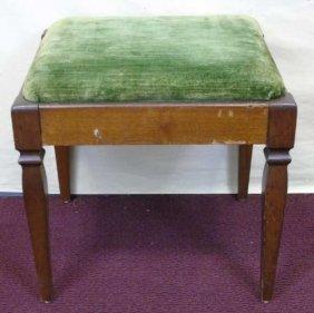 Small Mahogany Bench W/ Green Velvet Seat
