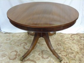"Antique Mahogany Pedestal Dining Table 48"" Round"