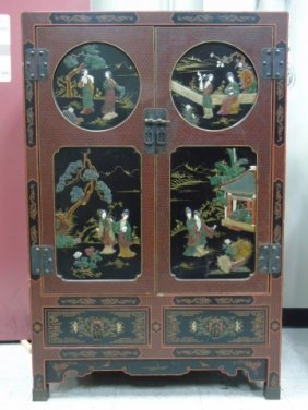 Chinese Lacquer Hand Painted & Inlaid Cabinet