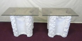 Pair Of White Painted Plaster Tables W. Glass Tops