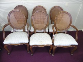 6 Cane Back Mahogany Dining Chairs