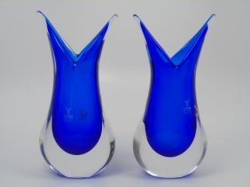 Pair Blue Murano Glass Vases Formia Glass Work
