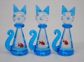 3 Murano Blown Glass Kittens W/ Gold Fish Figurine