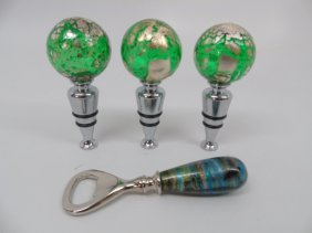 Lot Of 4 Murano Blown Glass Bar Items 3 Stoppers