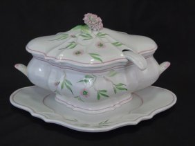 Hand Painted Italian Pottery Tureen & Plate