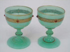 Pair Antique French Opaline Jeweled Glass Compotes