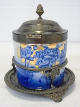 Antique Victorian Flow Blue Tea Caddy Biscuit