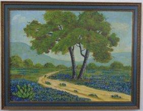 Viola Montgomery - Landscape Painting W/ Flowers
