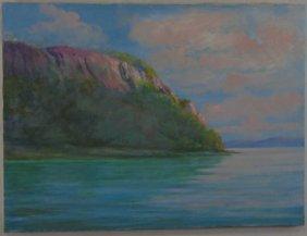 Seascape Painting On Canvas W/ Cliffs