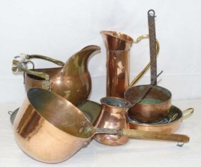 Lot Of 8 Vintage Copper Items, Pots, Bowls Pitcher