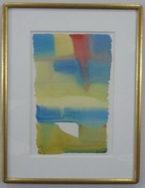 Abstract Water Color Painting Pencil Signed