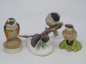 3 Boehm Painted Porcelain Bisque Birds