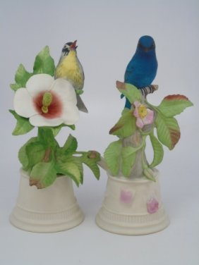 2 Boehm Painted Porcelain Bisque Birds