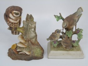 Royal Crown & Boehm Porcelain Bisque Bird & Owl