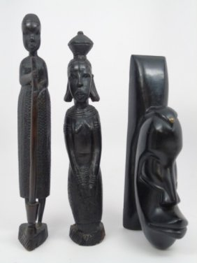 Three Hand Carved African Tribal Statues