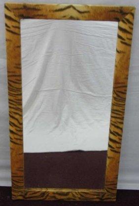 Velvet Tiger Stamped Print Fur Framed Mirror