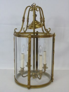 Brass Lantern Ceiling Light Fixture 4 Lights