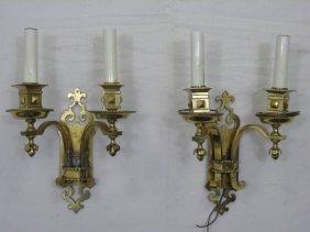 Pair Of Vintage Antiqued Brass Sconces