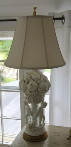 Blanc De Chine Fruit Porcelain & Cherub Lamp