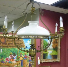 American Victorian Chandelier W/ Glass Dome