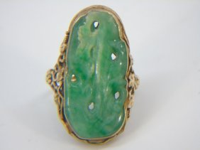 Antique Yellow Gold & Carved Chinese Jade Ring