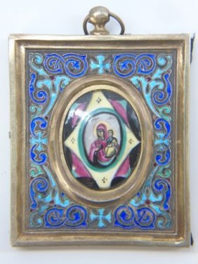 Antique Russian Imperial Silver & Enamel Icon