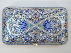 Antique Russian Imperial Silver & Enamel Case Box